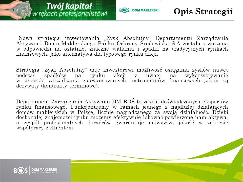 Celem strategii inwestycyjnej jest uzyskiwanie zysku powyżej rentowności bonów skarbowych bez względu na trend panujący na rynkach finansowych.