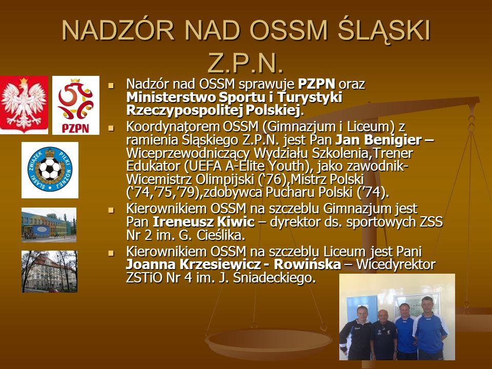 NADZÓR NAD OSSM ŚLĄSKI Z.P.N. Nadzór nad OSSM sprawuje PZPN oraz Ministerstwo Sportu i Turystyki Rzeczypospolitej Polskiej. Nadzór nad OSSM sprawuje P