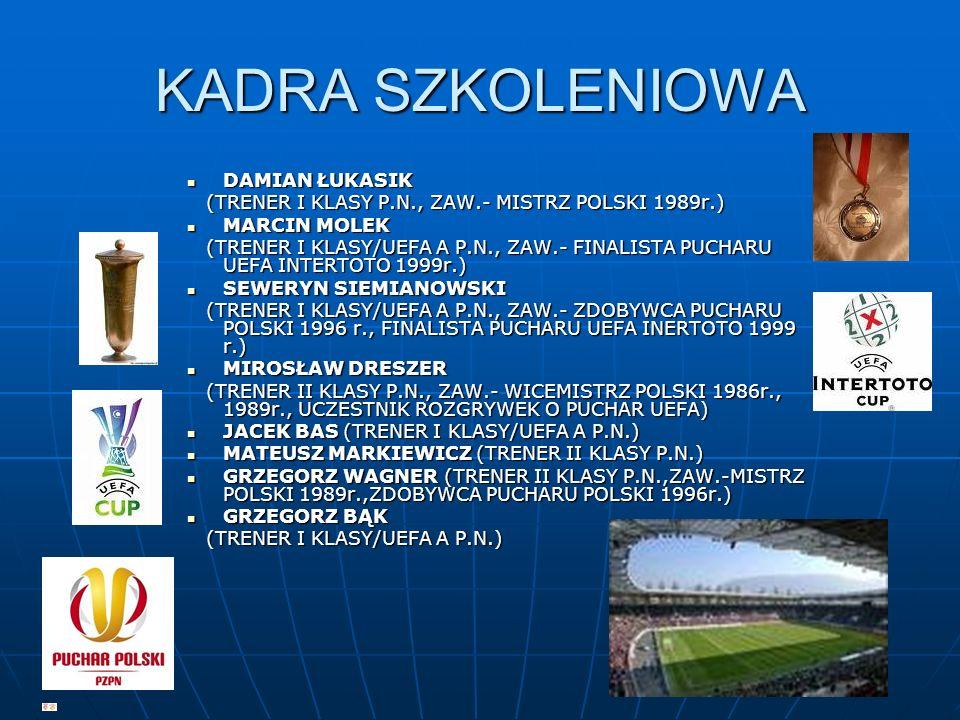 KADRA SZKOLENIOWA DAMIAN ŁUKASIK DAMIAN ŁUKASIK (TRENER I KLASY P.N., ZAW.- MISTRZ POLSKI 1989r.) (TRENER I KLASY P.N., ZAW.- MISTRZ POLSKI 1989r.) MA