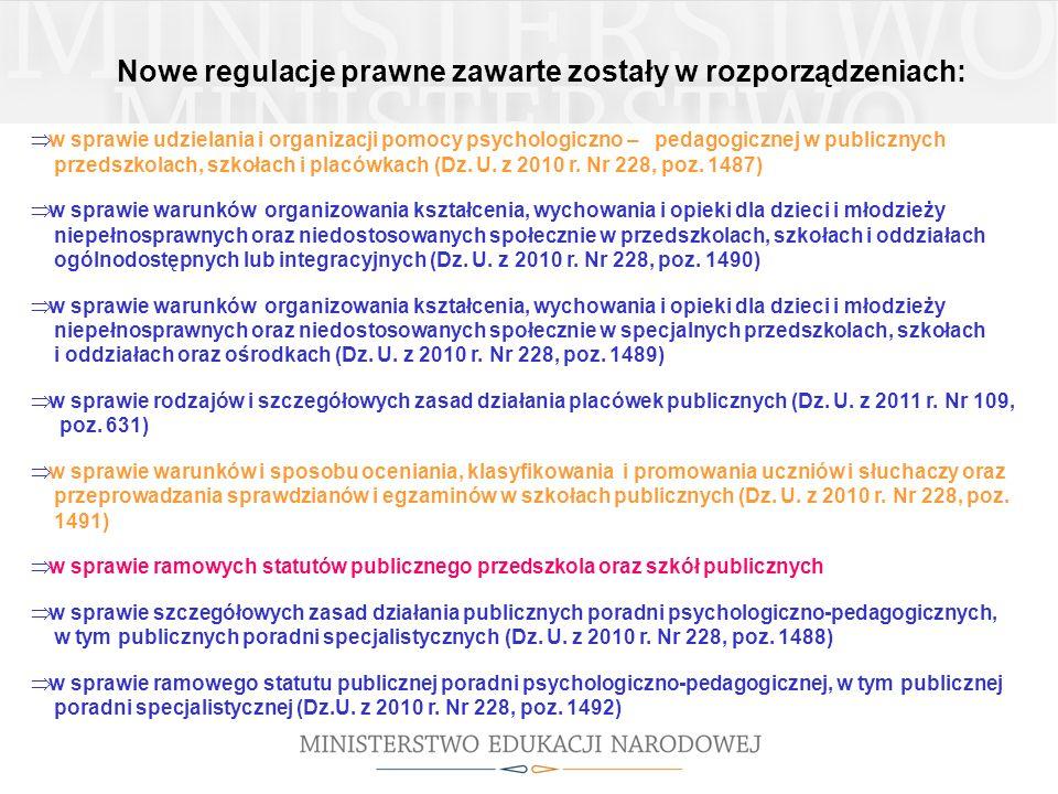 Nowe regulacje prawne zawarte zostały w rozporządzeniach: w sprawie udzielania i organizacji pomocy psychologiczno – pedagogicznej w publicznych przed