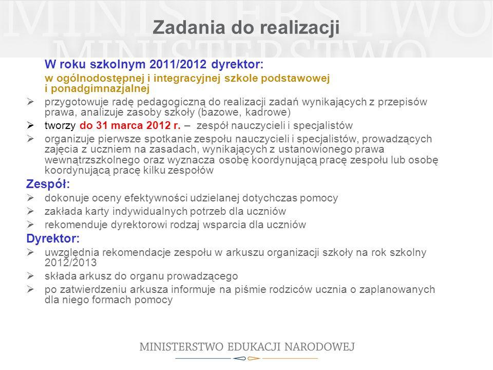 Zadania do realizacji W roku szkolnym 2011/2012 dyrektor: w ogólnodostępnej i integracyjnej szkole podstawowej i ponadgimnazjalnej przygotowuje radę p