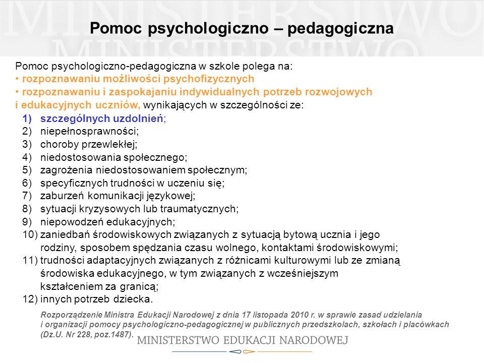 Pomoc psychologiczno-pedagogiczna w szkole polega na: rozpoznawaniu możliwości psychofizycznych rozpoznawaniu i zaspokajaniu indywidualnych potrzeb ro