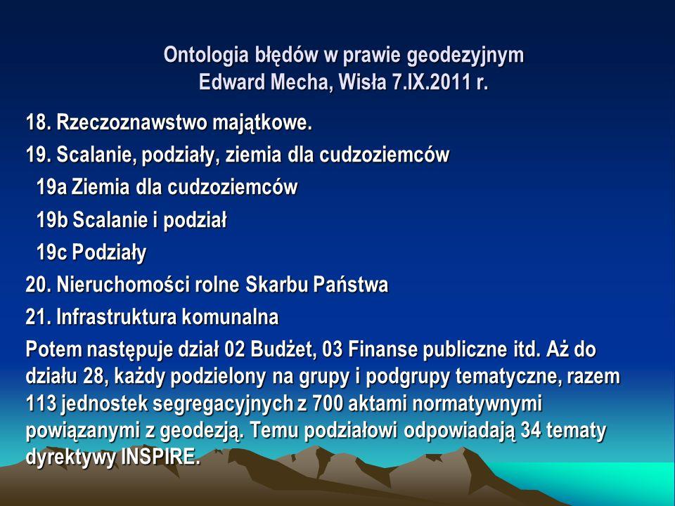 Ontologia błędów w prawie geodezyjnym Edward Mecha, Wisła 7.IX.2011 r. 18. Rzeczoznawstwo majątkowe. 19. Scalanie, podziały, ziemia dla cudzoziemców 1