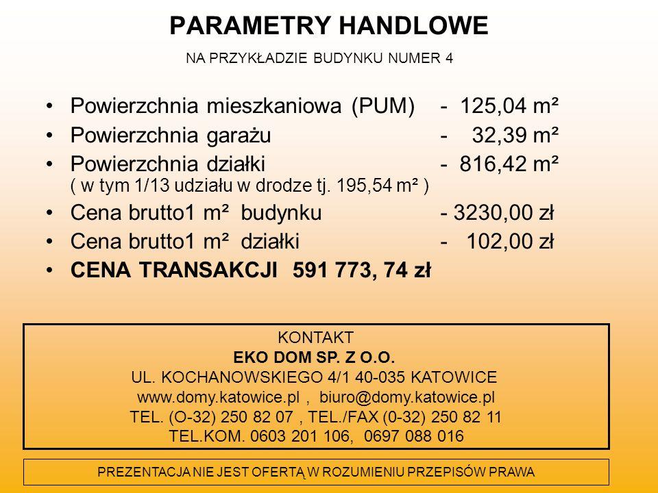 PARAMETRY HANDLOWE Powierzchnia mieszkaniowa (PUM)- 125,04 m² Powierzchnia garażu- 32,39 m² Powierzchnia działki- 816,42 m² ( w tym 1/13 udziału w dro