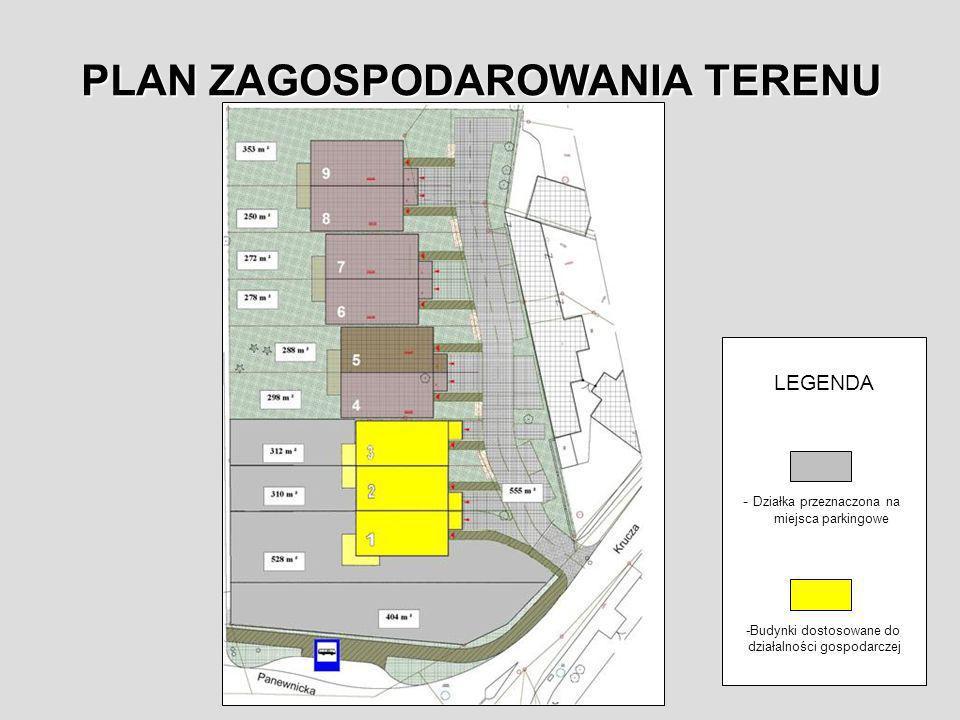 PLAN ZAGOSPODAROWANIA TERENU LEGENDA - Działka przeznaczona na miejsca parkingowe -Budynki dostosowane do działalności gospodarczej