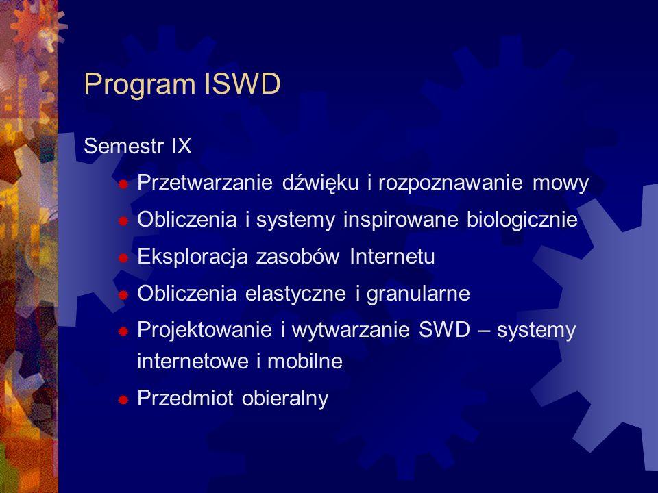Program ISWD Semestr IX Przetwarzanie dźwięku i rozpoznawanie mowy Obliczenia i systemy inspirowane biologicznie Eksploracja zasobów Internetu Oblicze