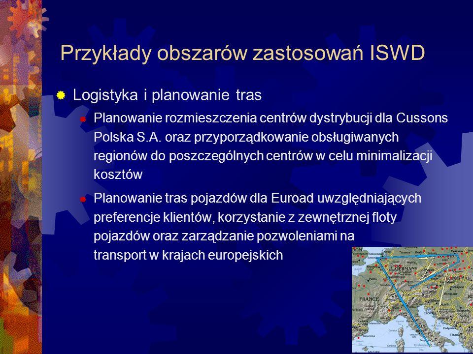 Przykłady obszarów zastosowań ISWD Logistyka i planowanie tras Planowanie rozmieszczenia centrów dystrybucji dla Cussons Polska S.A. oraz przyporządko