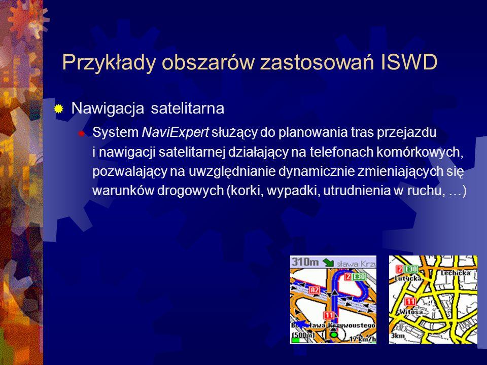 Przykłady obszarów zastosowań ISWD Nawigacja satelitarna System NaviExpert służący do planowania tras przejazdu i nawigacji satelitarnej działający na