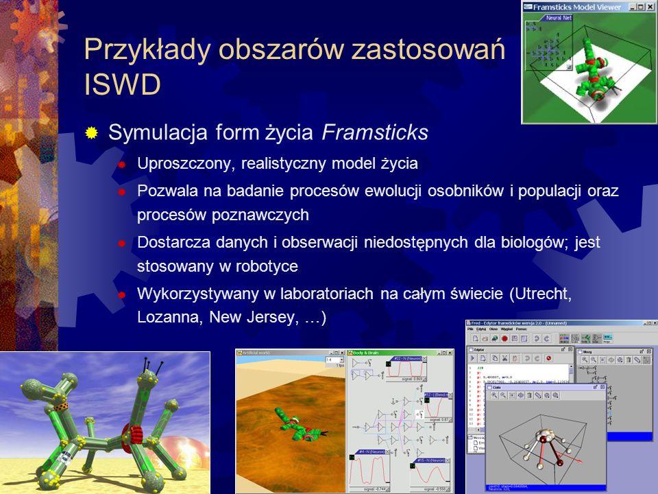 Przykłady obszarów zastosowań ISWD Symulacja form życia Framsticks Uproszczony, realistyczny model życia Pozwala na badanie procesów ewolucji osobnikó