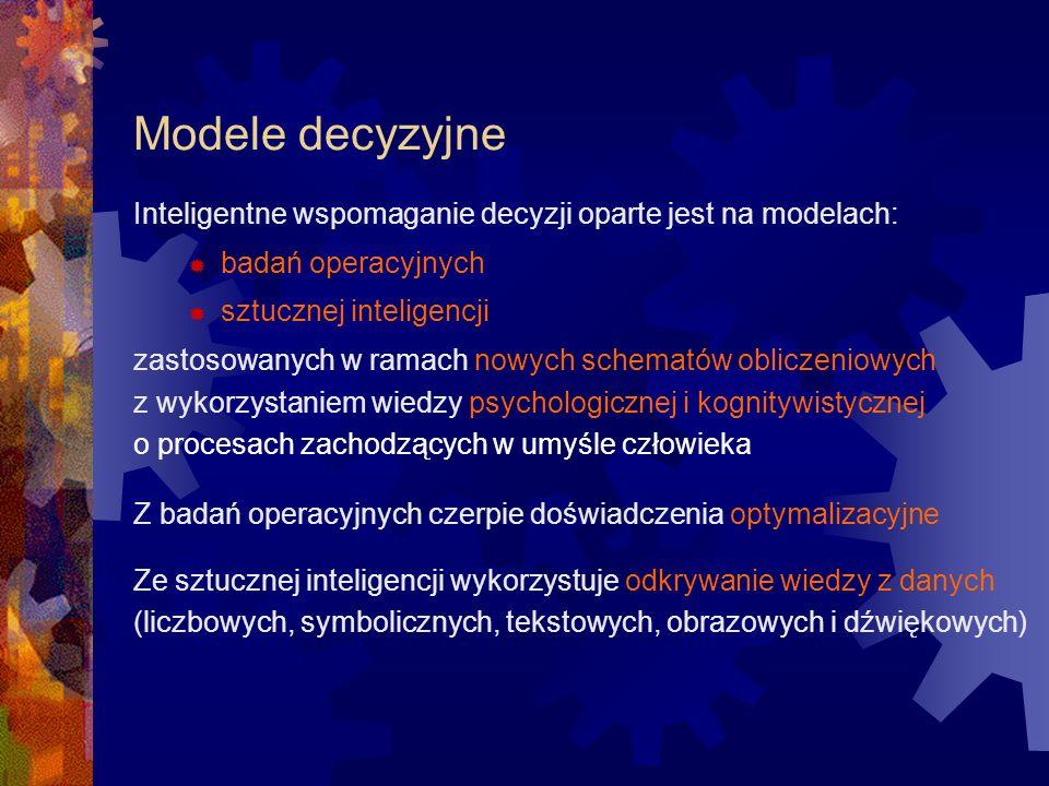 Modele decyzyjne Inteligentne wspomaganie decyzji oparte jest na modelach: badań operacyjnych sztucznej inteligencji zastosowanych w ramach nowych sch