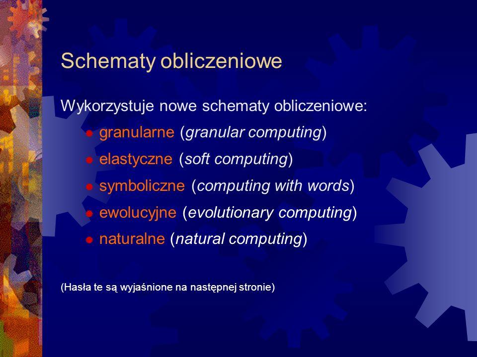 Schematy obliczeniowe Wykorzystuje nowe schematy obliczeniowe: granularne (granular computing) elastyczne (soft computing) symboliczne (computing with