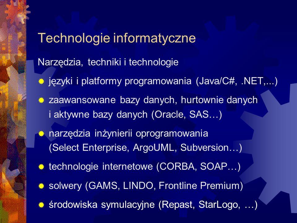 Technologie informatyczne Narzędzia, techniki i technologie języki i platformy programowania (Java/C#,.NET,...) zaawansowane bazy danych, hurtownie da