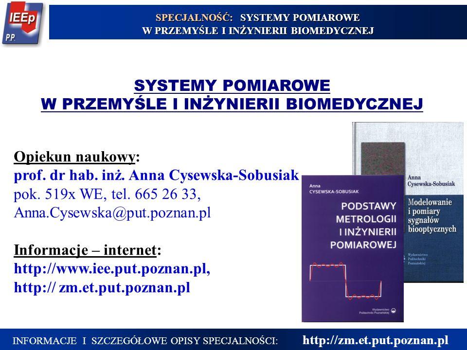 INFORMACJE I SZCZEGÓŁOWE OPISY SPECJALNOŚCI: http://zm.et.put.poznan.pl SYSTEMY POMIAROWE W PRZEMYŚLE I INŻYNIERII BIOMEDYCZNEJ Opiekun naukowy: prof.