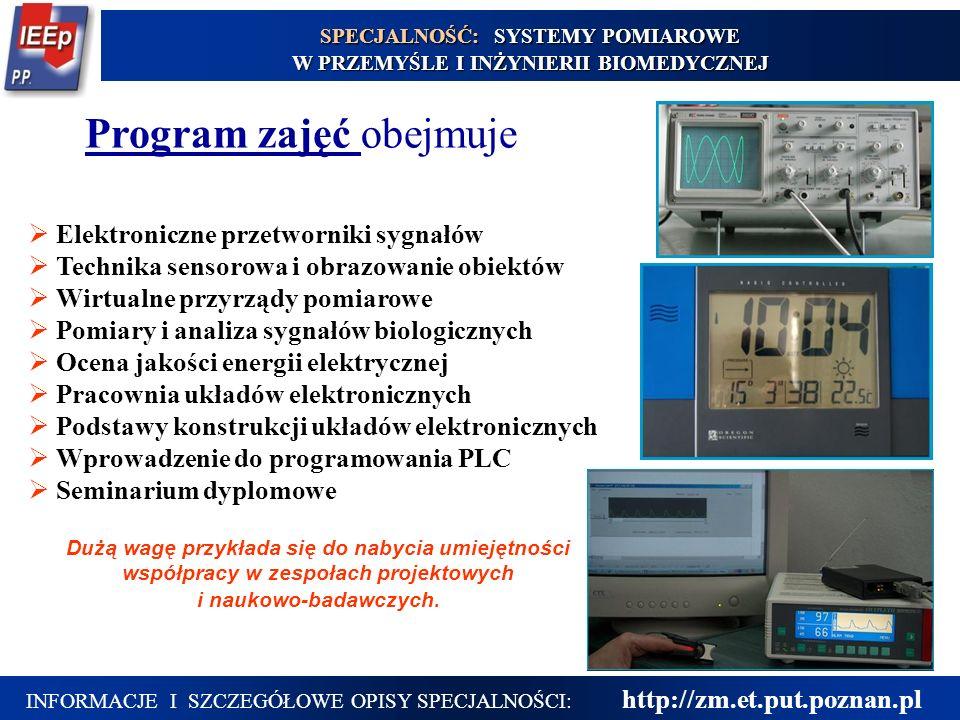 15 Elektroniczne przetworniki sygnałów Technika sensorowa i obrazowanie obiektów Wirtualne przyrządy pomiarowe Pomiary i analiza sygnałów biologicznyc