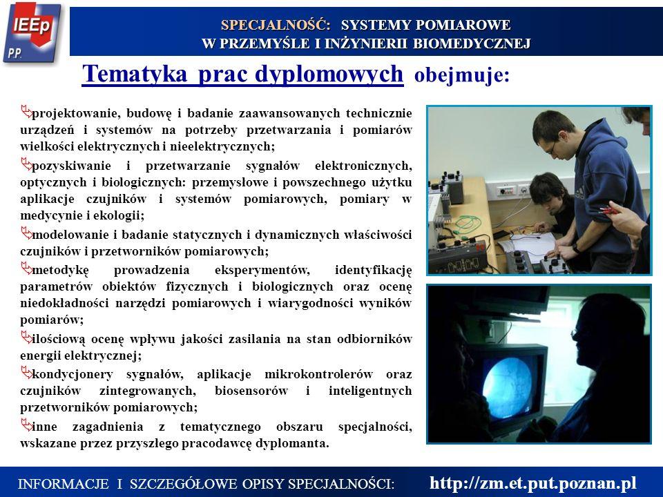 16 Tematyka prac dyplomowych obejmuje: projektowanie, budowę i badanie zaawansowanych technicznie urządzeń i systemów na potrzeby przetwarzania i pomi