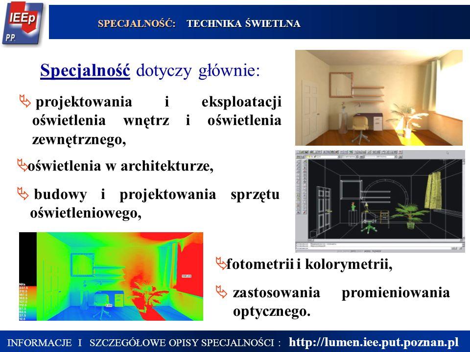 18 projektowania i eksploatacji oświetlenia wnętrz i oświetlenia zewnętrznego, oświetlenia w architekturze, budowy i projektowania sprzętu oświetlenio