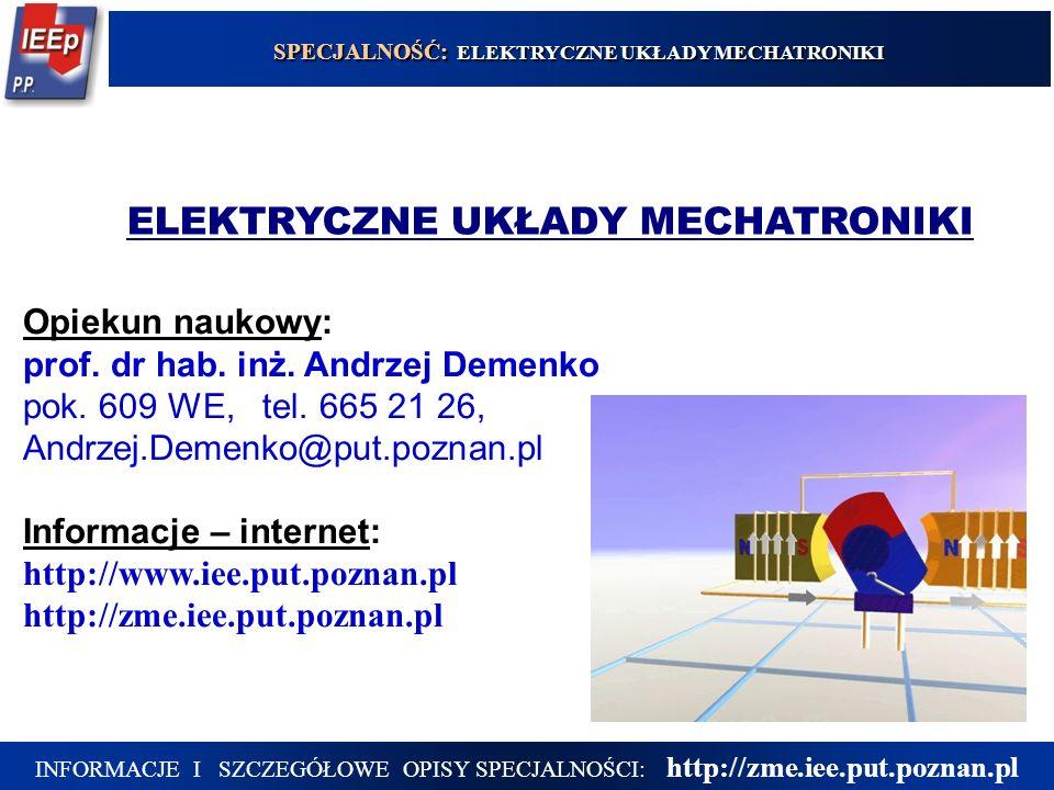 Opiekun naukowy: prof. dr hab. inż. Andrzej Demenko pok. 609 WE, tel. 665 21 26, Andrzej.Demenko@put.poznan.pl Informacje – internet: http://www.iee.p