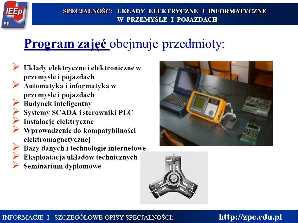 25 Program zajęć obejmuje przedmioty: Układy elektryczne i elektroniczne w przemyśle i pojazdach Automatyka i informatyka w przemyśle i pojazdach Budy