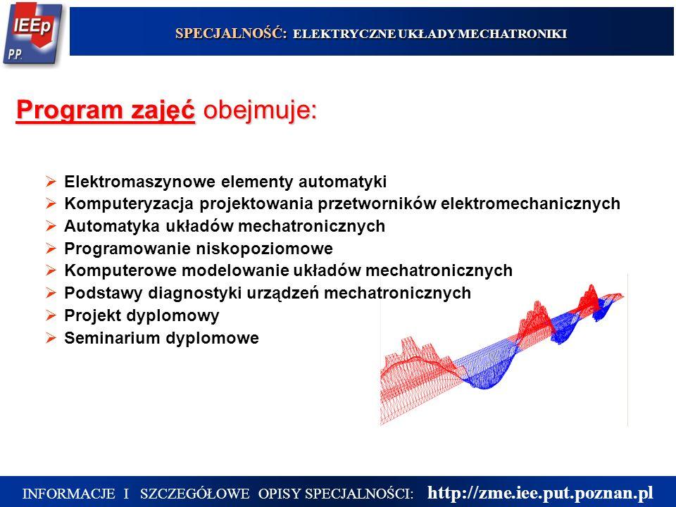 5 Program zajęć obejmuje: Elektromaszynowe elementy automatyki Komputeryzacja projektowania przetworników elektromechanicznych Automatyka układów mech
