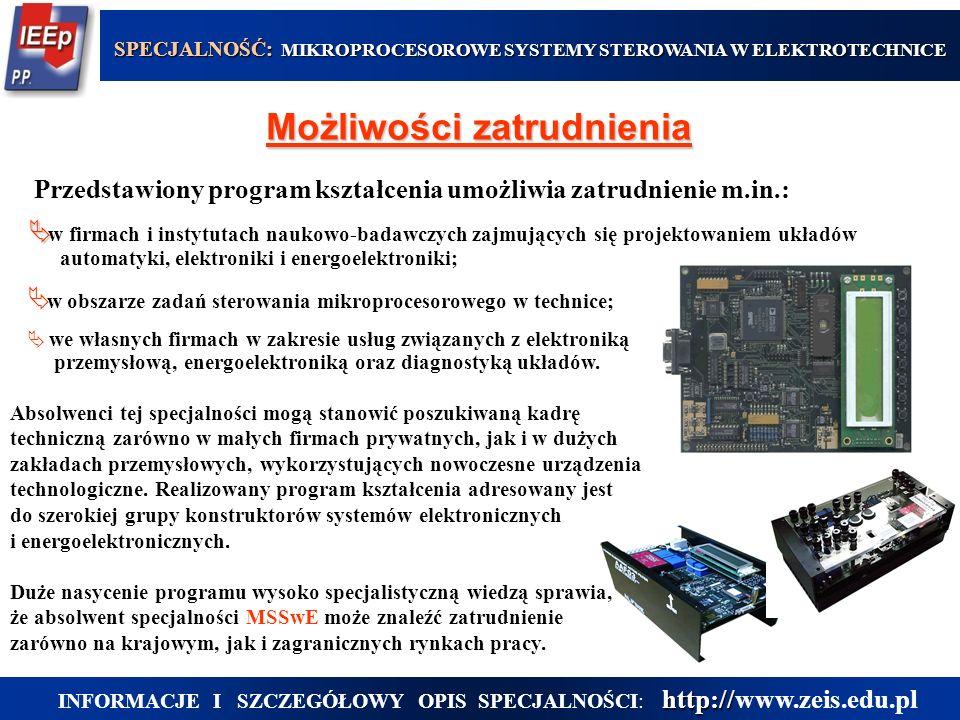 w obszarze zadań sterowania mikroprocesorowego w technice; we własnych firmach w zakresie usług związanych z elektroniką przemysłową, energoelektronik