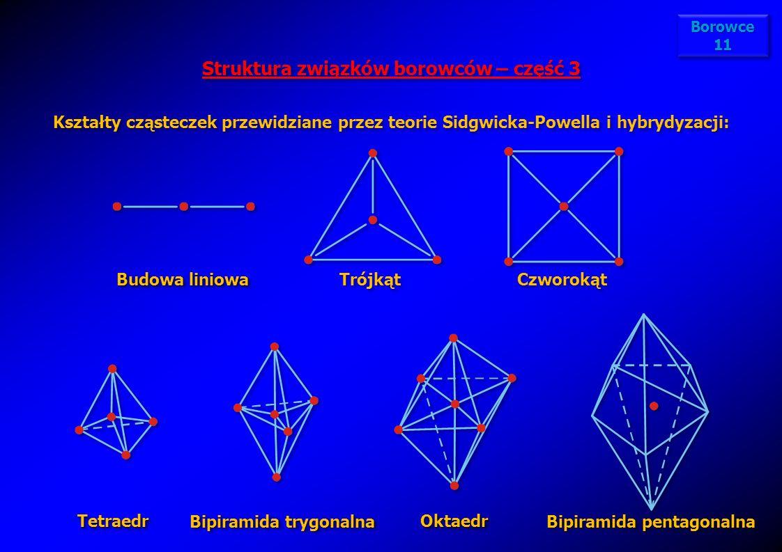 Struktura związków borowców – część 3 Kształty cząsteczek przewidziane przez teorie Sidgwicka-Powella i hybrydyzacji: Struktura związków borowców – cz