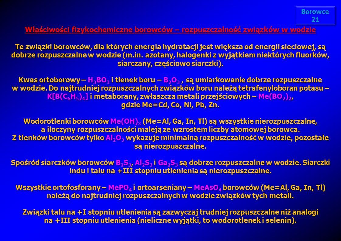 Właściwości fizykochemiczne borowców – rozpuszczalność związków w wodzie Te związki borowców, dla których energia hydratacji jest większa od energii s