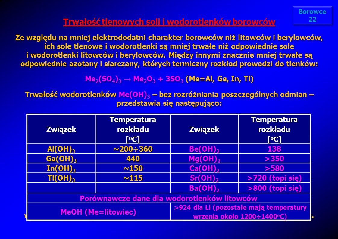 Trwałość tlenowych soli i wodorotlenków borowców Ze względu na mniej elektrododatni charakter borowców niż litowców i berylowców, ich sole tlenowe i w