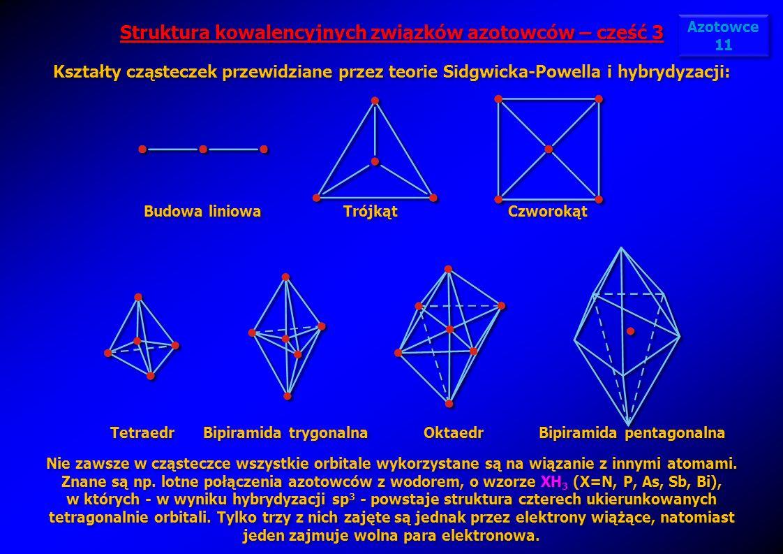 Struktura kowalencyjnych związków azotowców – część 3 Kształty cząsteczek przewidziane przez teorie Sidgwicka-Powella i hybrydyzacji: Struktura kowale