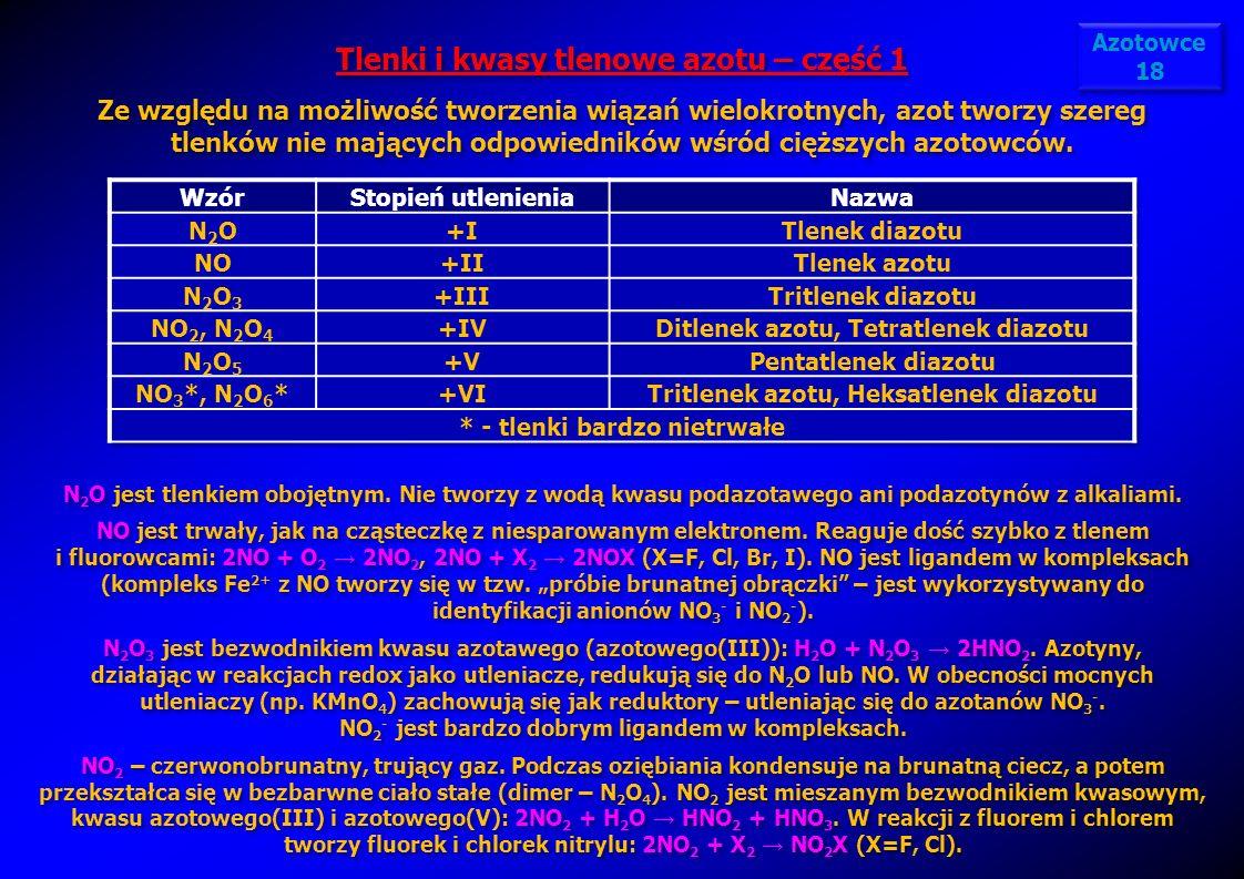 Tlenki i kwasy tlenowe azotu – część 1 Ze względu na możliwość tworzenia wiązań wielokrotnych, azot tworzy szereg tlenków nie mających odpowiedników w