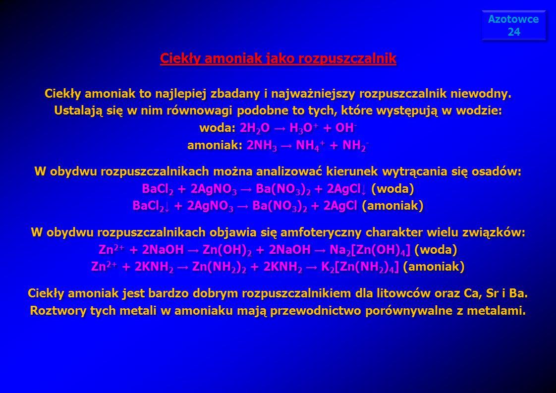 Ciekły amoniak jako rozpuszczalnik Ciekły amoniak to najlepiej zbadany i najważniejszy rozpuszczalnik niewodny. Ustalają się w nim równowagi podobne t