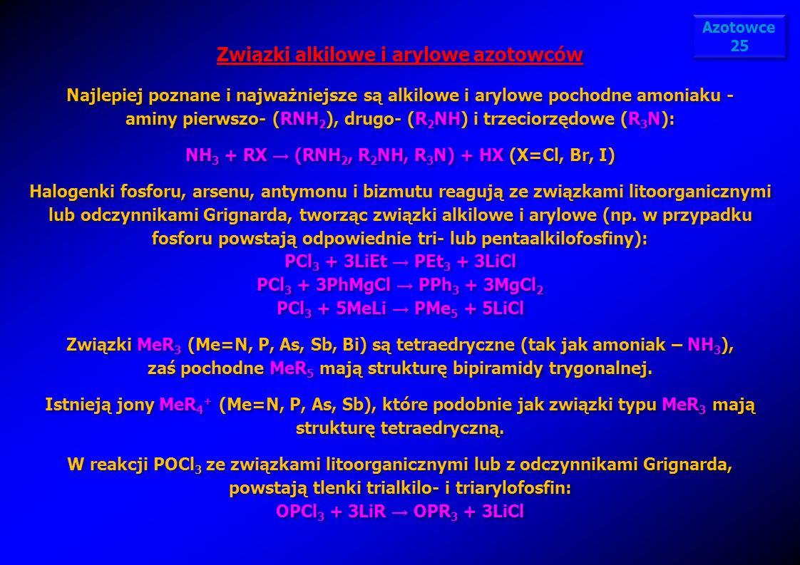 Związki alkilowe i arylowe azotowców Najlepiej poznane i najważniejsze są alkilowe i arylowe pochodne amoniaku - aminy pierwszo- (RNH 2 ), drugo- (R 2