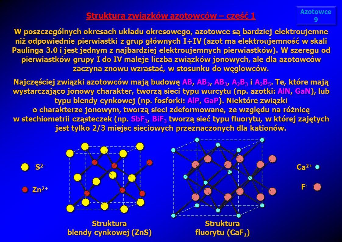 Struktura blendy cynkowej (ZnS) Struktura blendy cynkowej (ZnS) Struktura związków azotowców – część 1 W poszczególnych okresach układu okresowego, az