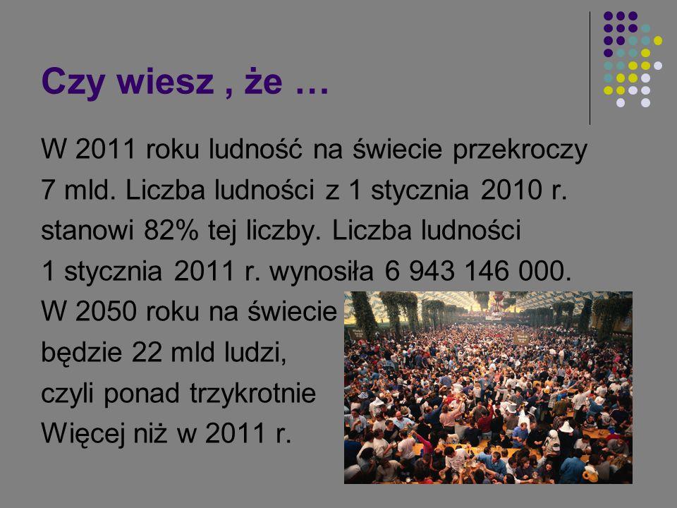 Czy wiesz, że … W 2011 roku ludność na świecie przekroczy 7 mld. Liczba ludności z 1 stycznia 2010 r. stanowi 82% tej liczby. Liczba ludności 1 styczn