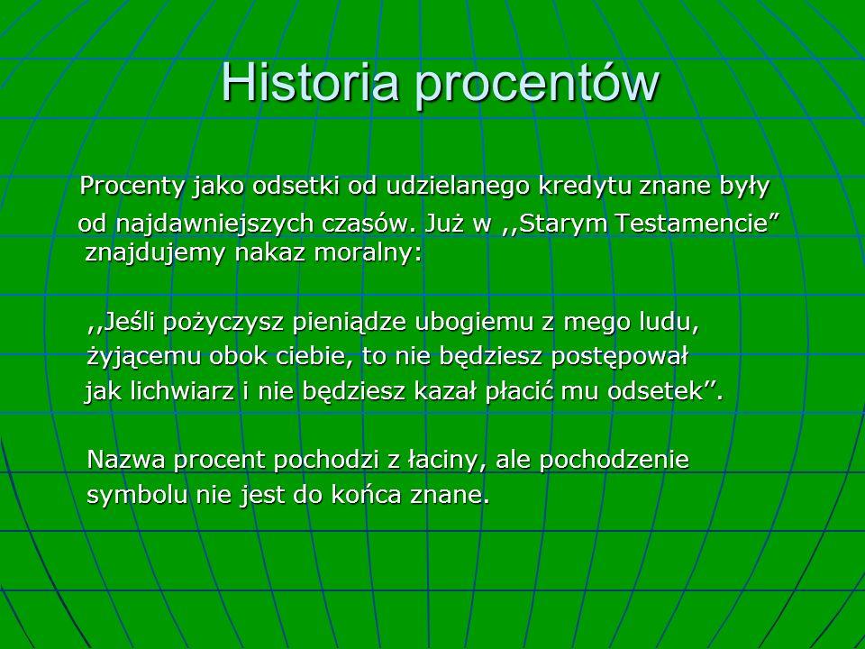 Historia procentów Historia procentów Procenty jako odsetki od udzielanego kredytu znane były Procenty jako odsetki od udzielanego kredytu znane były od najdawniejszych czasów.