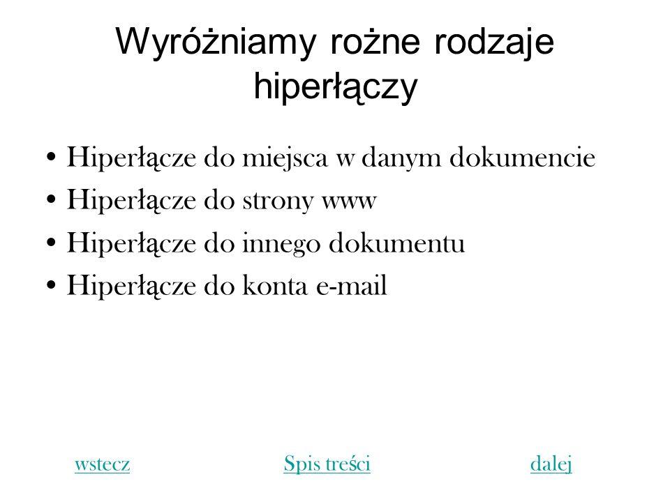 Wyróżniamy rożne rodzaje hiperłączy Hiper łą cze do miejsca w danym dokumencie Hiper łą cze do strony www Hiper łą cze do innego dokumentu Hiper łą cz