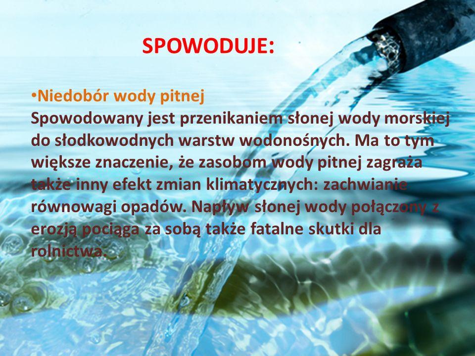 Niedobór wody pitnej Spowodowany jest przenikaniem słonej wody morskiej do słodkowodnych warstw wodonośnych. Ma to tym większe znaczenie, że zasobom w