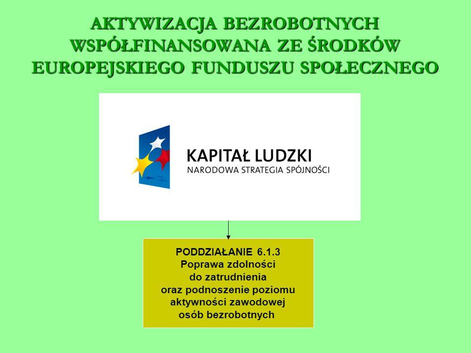 PODDZIAŁANIE 6.1.3 Poprawa zdolności do zatrudnienia oraz podnoszenie poziomu aktywności zawodowej osób bezrobotnych AKTYWIZACJA BEZROBOTNYCH WSPÓŁFINANSOWANA ZE ŚRODKÓW EUROPEJSKIEGO FUNDUSZU SPOŁECZNEGO