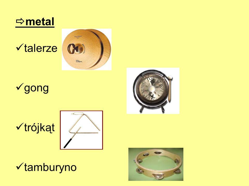 metal talerze gong trójkąt tamburyno