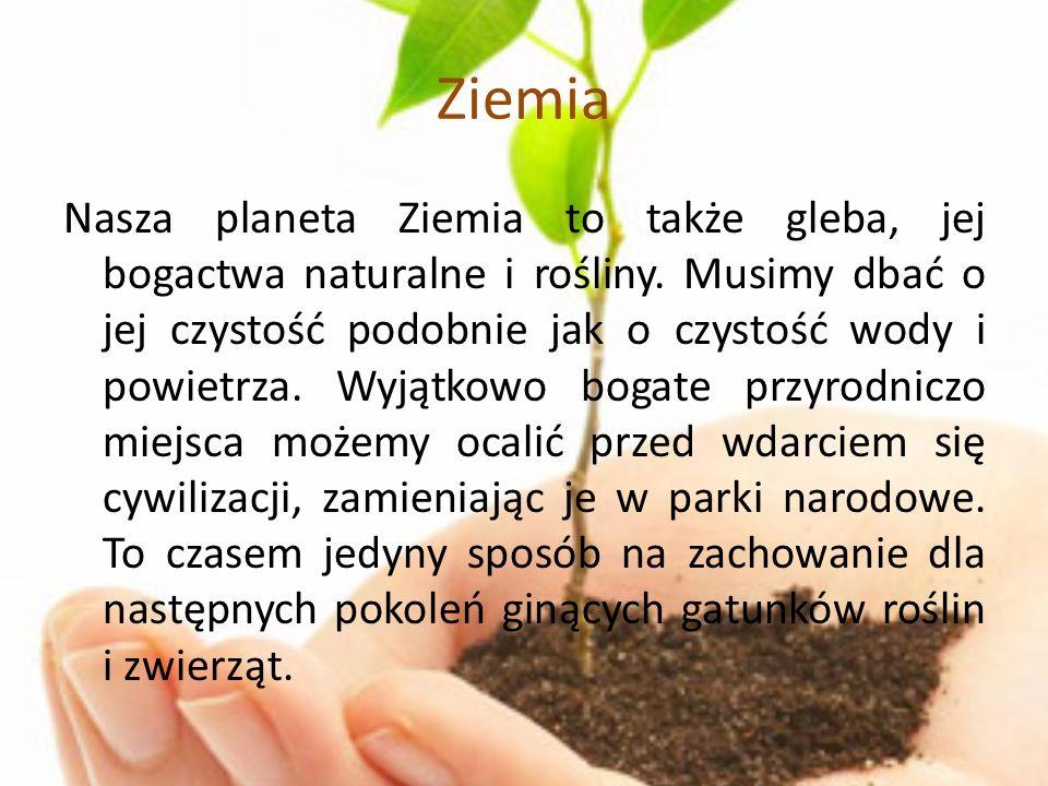 Ziemia Nasza planeta Ziemia to także gleba, jej bogactwa naturalne i rośliny. Musimy dbać o jej czystość podobnie jak o czystość wody i powietrza. Wyj