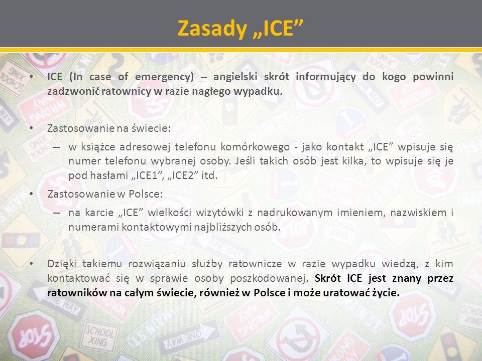 Zasady ICE ICE (In case of emergency) – angielski skrót informujący do kogo powinni zadzwonić ratownicy w razie nagłego wypadku.