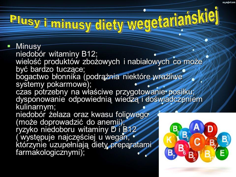 Minusy niedobór witaminy B12; wielość produktów zbożowych i nabiałowych co może być bardzo tuczące; bogactwo błonnika (podrażnia niektóre wrażliwe sys