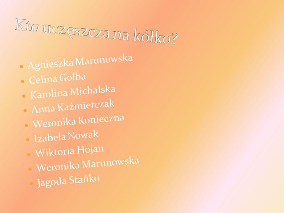 Agnieszka Marunowska Celina Golba Karolina Michalska Anna Kaźmierczak Weronika Konieczna Izabela Nowak Wiktoria Hojan Weronika Marunowska Jagoda Stańk