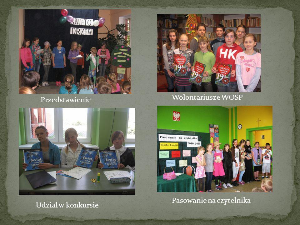 Przedstawienie Wolontariusze WOŚP Udział w konkursie Pasowanie na czytelnika