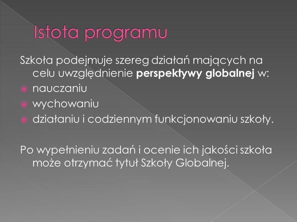 Szkoła podejmuje szereg działań mających na celu uwzględnienie perspektywy globalnej w: nauczaniu wychowaniu działaniu i codziennym funkcjonowaniu szkoły.