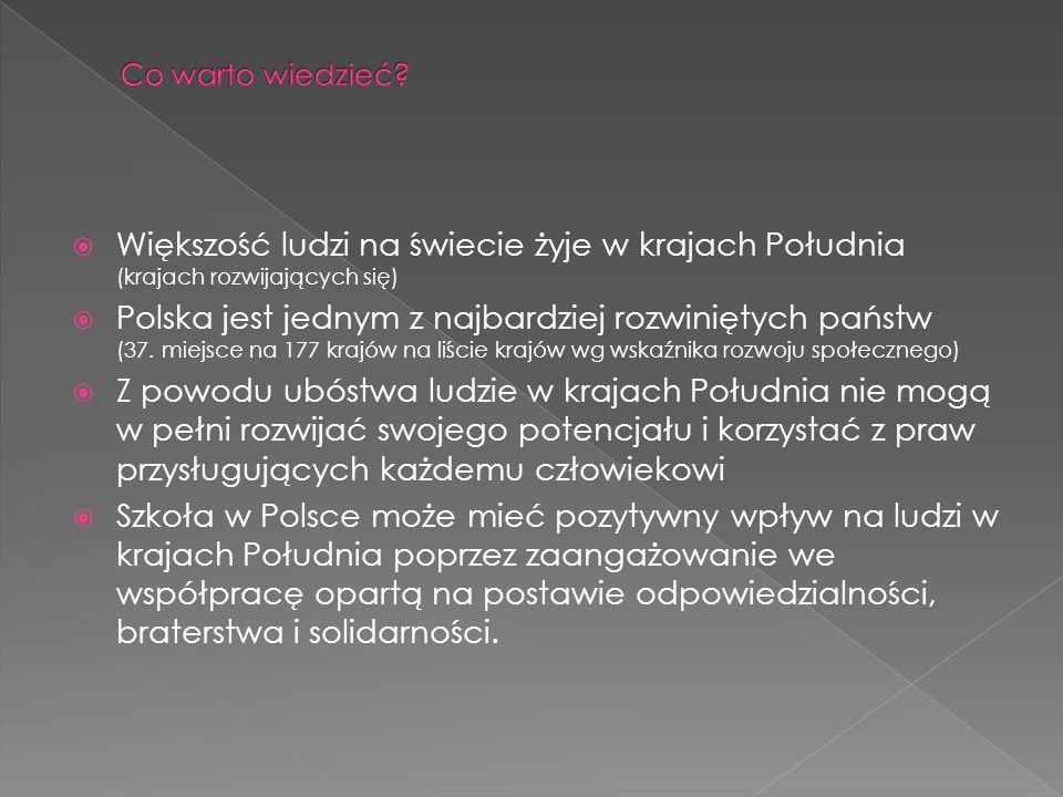 Większość ludzi na świecie żyje w krajach Południa (krajach rozwijających się) Polska jest jednym z najbardziej rozwiniętych państw (37. miejsce na 17