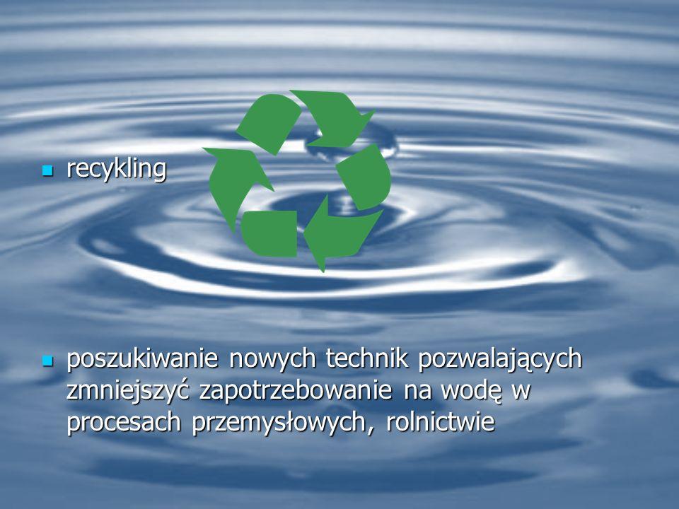 recykling recykling poszukiwanie nowych technik pozwalających zmniejszyć zapotrzebowanie na wodę w procesach przemysłowych, rolnictwie poszukiwanie nowych technik pozwalających zmniejszyć zapotrzebowanie na wodę w procesach przemysłowych, rolnictwie