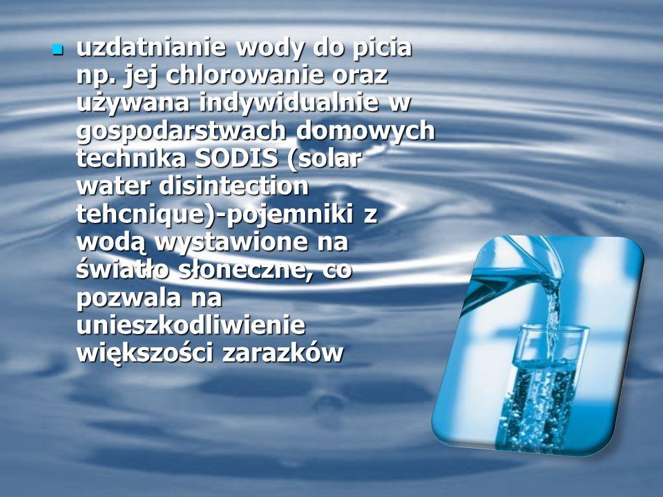 uzdatnianie wody do picia np.