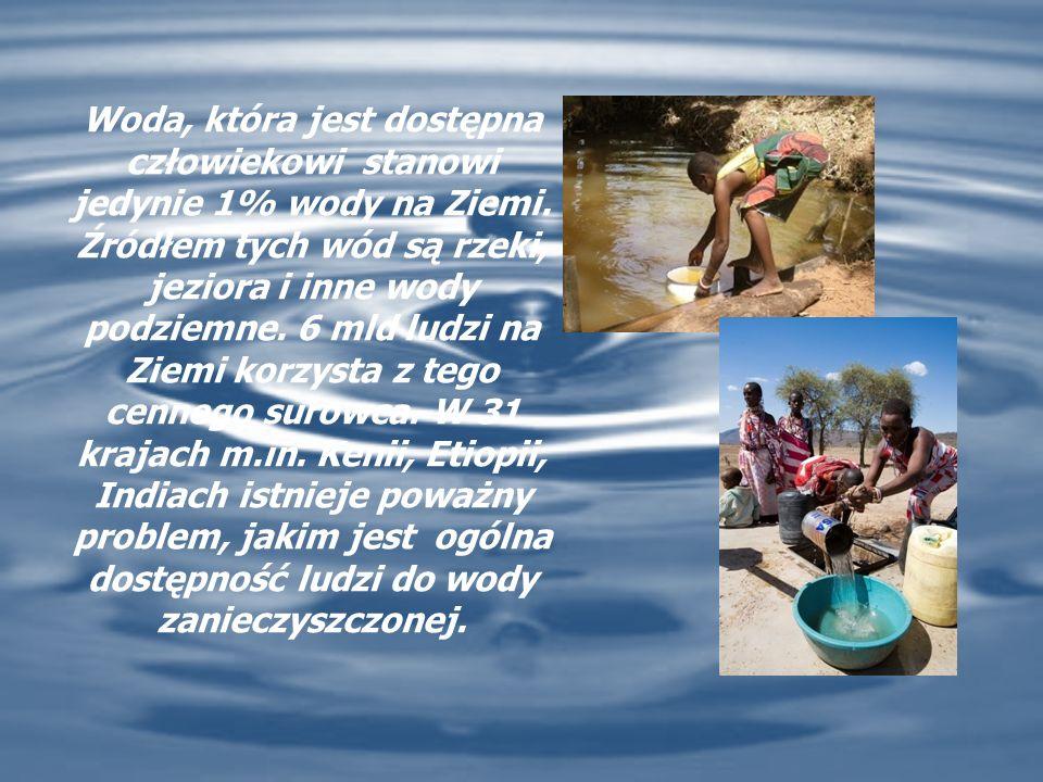 Woda, która jest dostępna człowiekowi stanowi jedynie 1% wody na Ziemi.