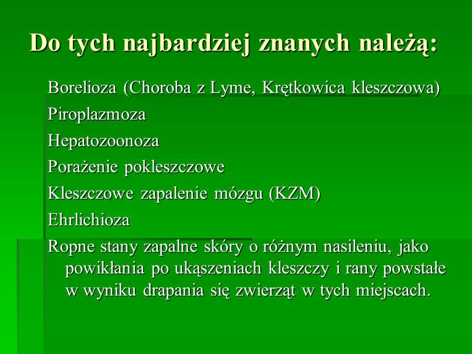 Do tych najbardziej znanych należą: Borelioza (Choroba z Lyme, Krętkowica kleszczowa) PiroplazmozaHepatozoonoza Porażenie pokleszczowe Kleszczowe zapa
