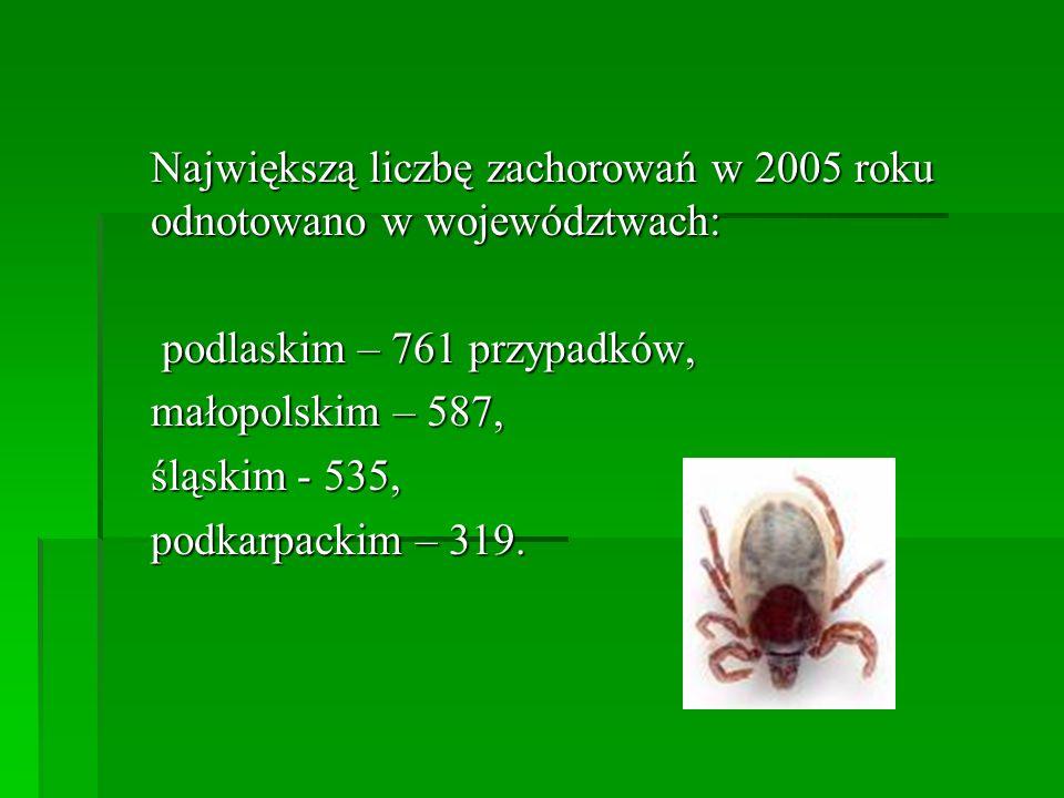 Największą liczbę zachorowań w 2005 roku odnotowano w województwach: podlaskim – 761 przypadków, podlaskim – 761 przypadków, małopolskim – 587, śląski